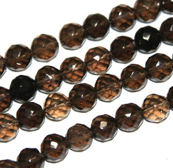 7.5  inch strand of Natural Smoky Quartz Faceted round 8mm