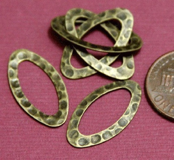 Wholesale 40 pcs of antiqued brass hammered oval link 12X22mm