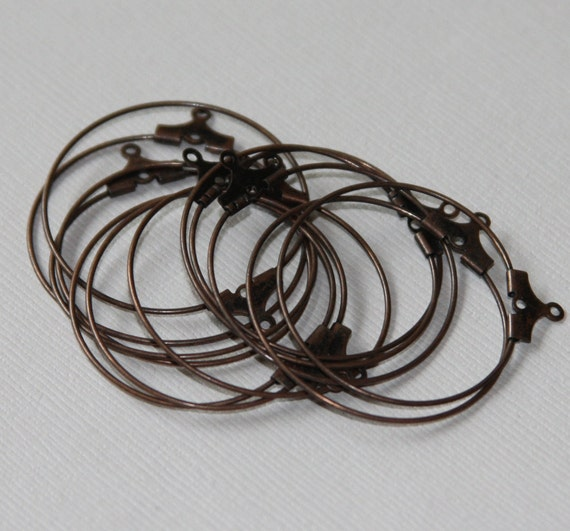 50 pcs of antique copper plated brass beading  hoops 30mm