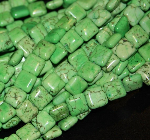 15 inch strand of grass green howlite Turquoise square 12mm