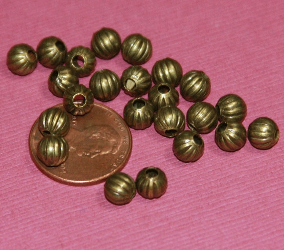 100 pcs of antique brass  round Corrugated beads 4mm