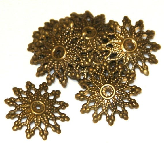 SALE --- 50 pcs of Antiqued brass filigree findings 16mm