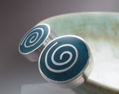 Chunky Teal Blue Cufflinks - Resin & Silver Spirals