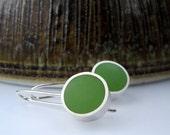 Resin Earrings - Apple Green Resin -  Mod Dot Colorblock  - UK