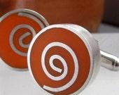 Bold Orange Cuff links - Chunky Sterling Silver Spiral Cufflinks - Jewelry for Men