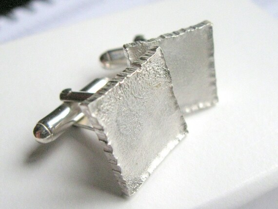 The Edge - Square Sterling Silver Cufflinks - Hammered Silver Cuff-link -  Wedding Gifts for Him