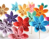 You Choose 24 Millalove Paper Flower Cupcake Toppers