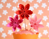 12 Millalove Cupcake Toppers Paper Flowers