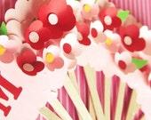 Strawberry Bloom Custom Flower Cupcake Toppers 12