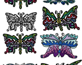Exotic Butterflies Set of 8 Machine Embroidery Designs  by LetZRocK