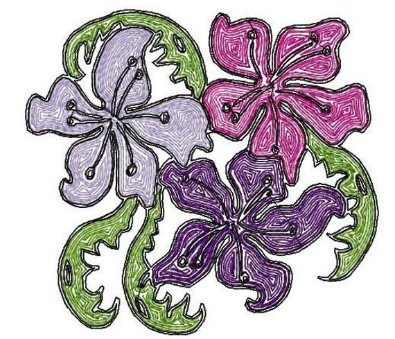 Flower Trio Machine Embroidery Designs...1620 for mylar