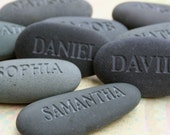 Custom engraved gifts - Engraved Name Rocks - set of 10 gray stones by sjEngraving