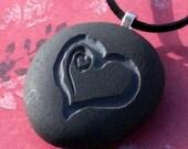 Sweet Heart pendant - Tiny PebbleGlyph (C) - Engraved beach stones