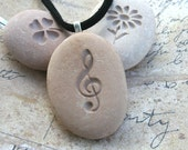The G-clef - Tiny PebbleGlyph (C) Pendent - engraved pebble necklace for music lover