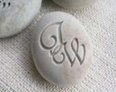 Interlocking Monogram Pebble - doube sided engraved stone - for couple, anniversary, engagement, wedding by sjEngraving