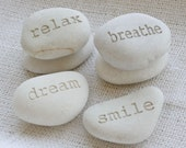Customized engraved gift stones - custom engraving on white stones by sjEngraving