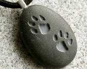 Puppy Pawprints Pendant - Double Sided Engraved necklace - Tiny PebbleGlyph (C)