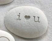 i heart u beach pebble - I love you gift stone - Petite love stone (TM) by sjEngraving