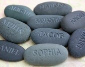 Personalized engraved stone gifts - for father, grandpa, mother and grandma,- All My Children - Set of 12 engraved gray name stones