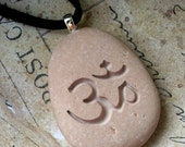 Om necklace - Tiny PebbleGlyph (c) Pendant - engraved pebble necklace