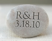 Wedding or anniversary gift - oathing stone with initials and date