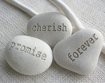 promise cherish forever - engraved pebble trio - engraved white beach pebbles for couple