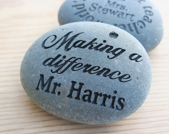 Teacher Gift Rocks - Appreciation for Teachers - Custom stone Engraving by sjEngraving