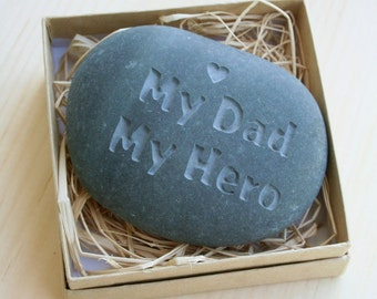 Gift for father - My Dad My Hero - Engraved message stone paperweight