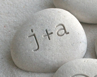 Petite love stone - you plus me personalized initials pebble by sjEngraving
