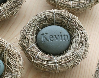 New baby gift personalized - Baby's Nest (c) - Celebrate the newborn - Custom engraved stone in bird nest by sjEngraving
