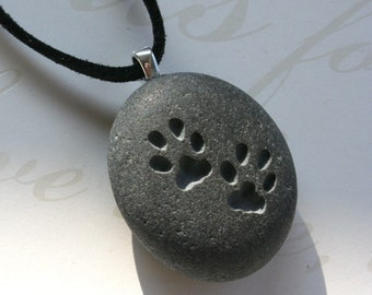 CAT paw prints necklace - for kitty lover - Tiny PebbleGlyph (C) Pendant - engraved pebble stone necklace