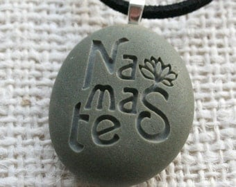 Namaste pendant necklace - Tiny PebbleGlyph(c) Pendent by sjEngraving