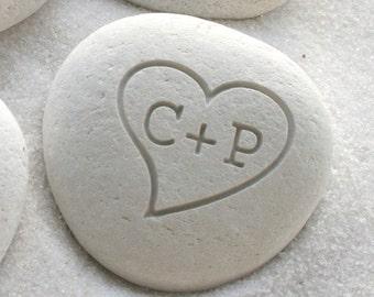 Petite love stone -  Engraved love rocks - Personalized initials pebble