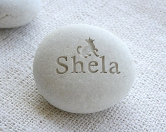 Pet memorial stone - custom engraving pet loss gift - Desktop companion stone