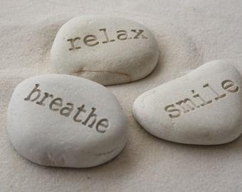Yoga gift - engraved white stones - relax breath smile