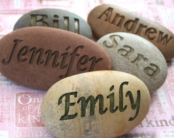 Customized Name Stone - Hand engraved name or word on river rock