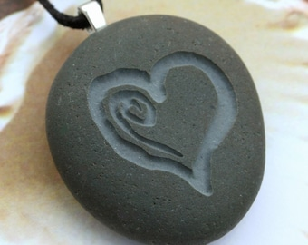MY HEART necklace - Double Sided Engraved pebble necklace - Tiny PebbleGlyph Pendant (c)