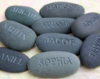 Personalized engraved gifts for family - Set of 12 or more - engraved gray name stones