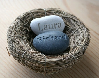 Personalized wedding gift for couple in love - engraved couple's name stones in nest - Our Nest Our Home (c) by sjEngraving