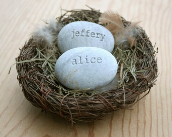Customized wedding anniversary gift for couple - personalized engraved stones in nest with custom names - Our nest by sjEngraving