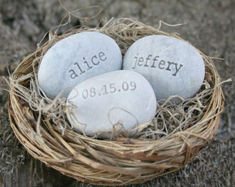Unique wedding gift for couple - Our Nest Our Home - engraved stones with names and date in bird nest - love nest by sjEngraving