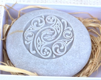 Celtic Design - Home decor - Stone Paperweight - Hand Carved Stone art by sjEngraving