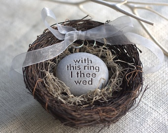 Wedding ring bearer nest - With this ring I thee wed - Merry Pebble (TM) Collection by sjEngraving - for wedding, commitment ceremony