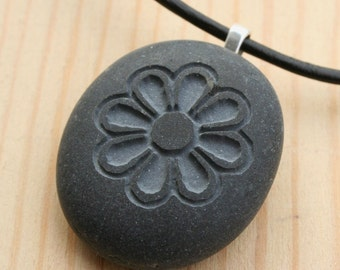 Chrysanthemum Flower Necklace - Tiny PebbleGlyph (C) Necklace