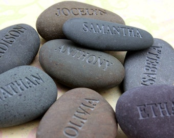Grandfather, father gift - Engraved childrens names - All My Children - Set of 3 Name Rocks - engraved grey stones