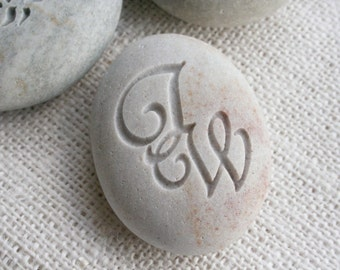 Interlocking Monogram Pebble - engraved pebble stone for couple by sjEngraving
