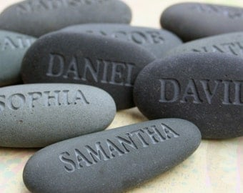 Personalized Name stones -  set of 10 engraved custom names gift