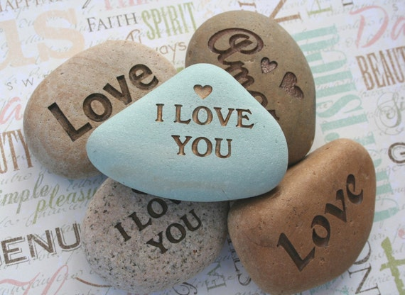 Say It on the Rock - I Love You and more... - home decor, paperweight - custom stone engraving