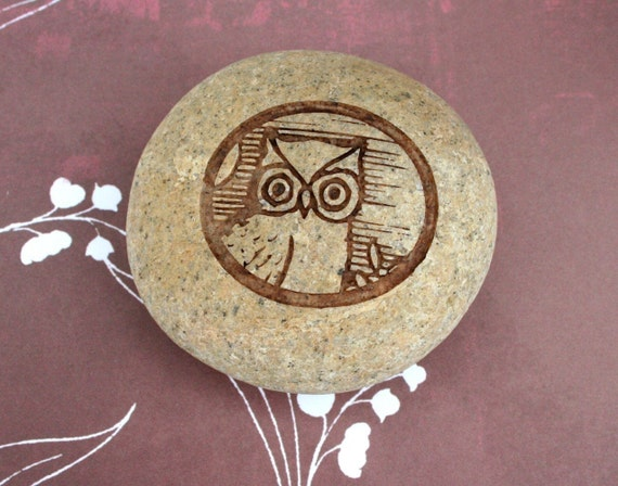 Vintage Owl pebble art - Engraved on Natural River Rock - home decor, paperweight