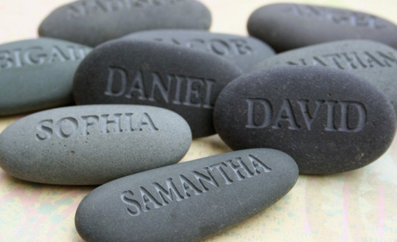 Party guest gifts - set of 3 personalized gray name stones by sjEngraving
